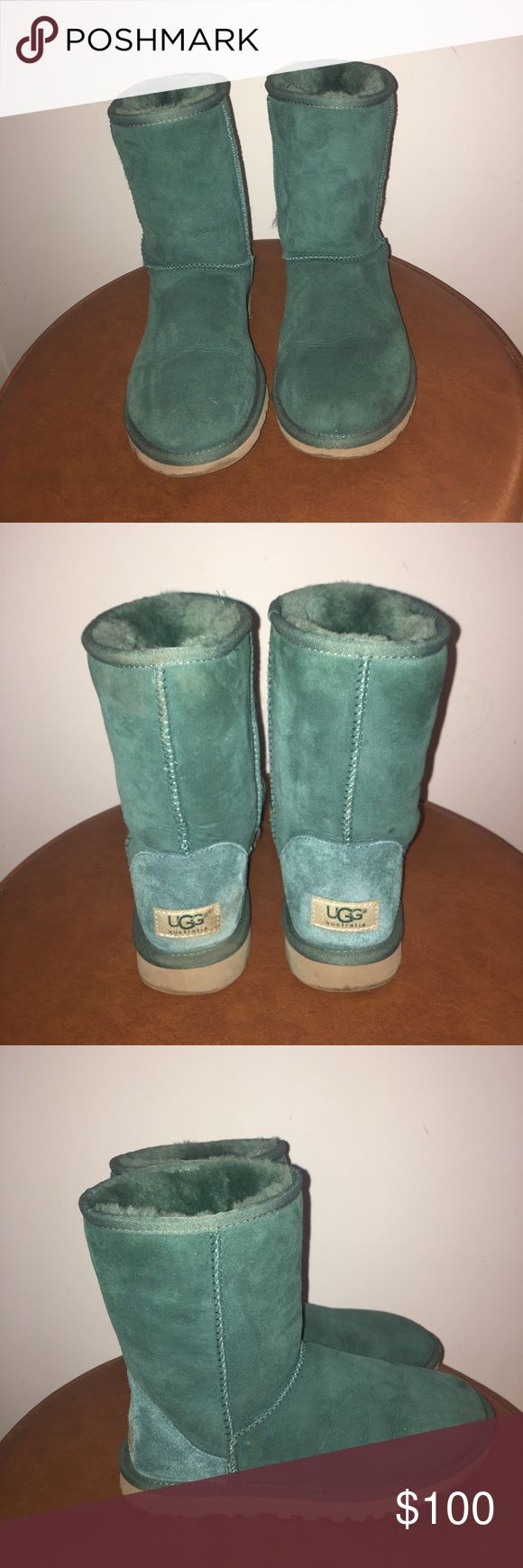 Ugg classic short turquoise boots Classic authentic turquoise Ugg short size 6/36 worn only once! Excellent condition looks brand new! UGG Shoes Winter & Rain Boots