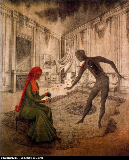 Les Feuilles Mortes, Remedios Varo  (1908 - 1963) was a Spanish-Mexican Mystical Surrealist painter. She was born in Anglés Cataluña, Spain. During the Spanish Civil War she fled to Paris where she was largely influenced by the surrealist movement. She met in Barcelona the French surrealist poet Benjamin Péret and became his wife. She was forced into exile from Paris during the Nazi occupation of France and moved to Mexico City at the end of 1941.