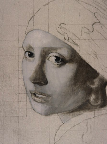 """Looks like a young Helen Mirren! Vermeer's Artistic Technique: Painting an Oil Copy of """"Girl with a Pearl Earring"""""""
