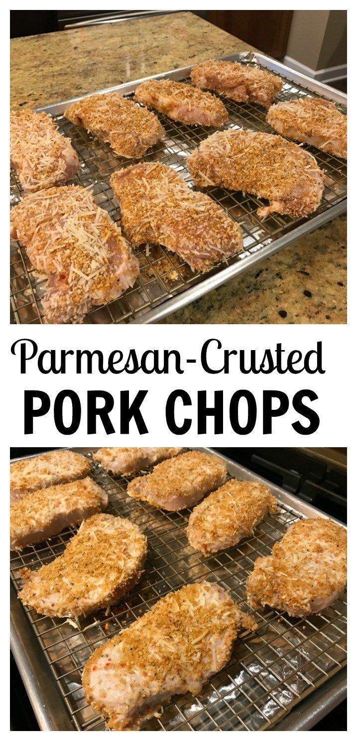 All you need is 4 ingredients to make these parmesan crusted pork chops. Served alongside roasted broccoli or sautéed zucchini and dinner couldn't get any easier! @MomNutrition