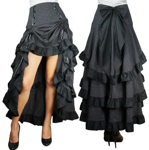 Three Tiered Ruffled Bustle Skirt With Ties Gothic Victorian Burlesque | Clothing, Shoes, Accessories, Women's Clothing, Skirts | eBay!