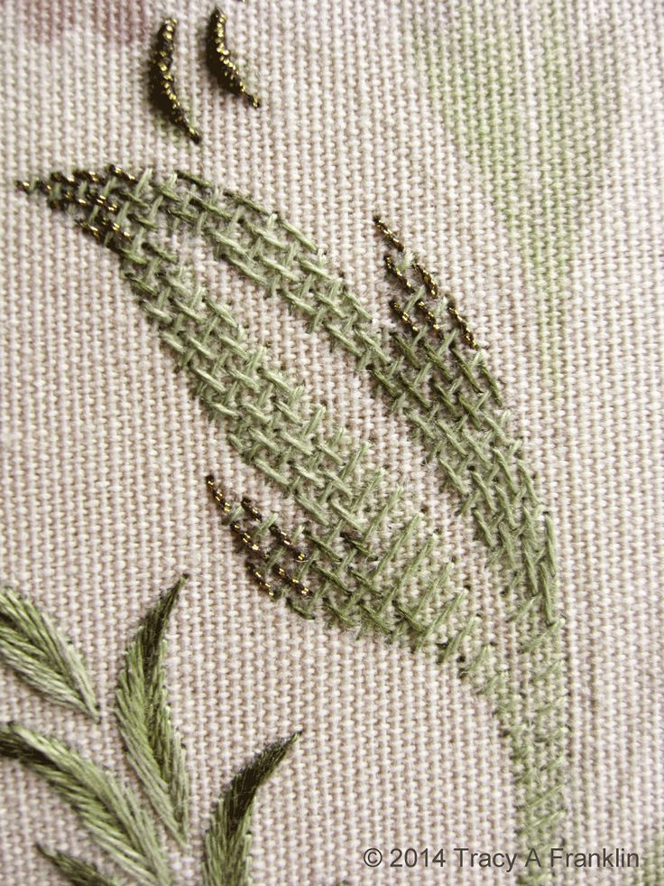 Burden stitch - love this stitch!!!     a closer look     another view    Burden stitch uses the same colours as the long and short shadin...