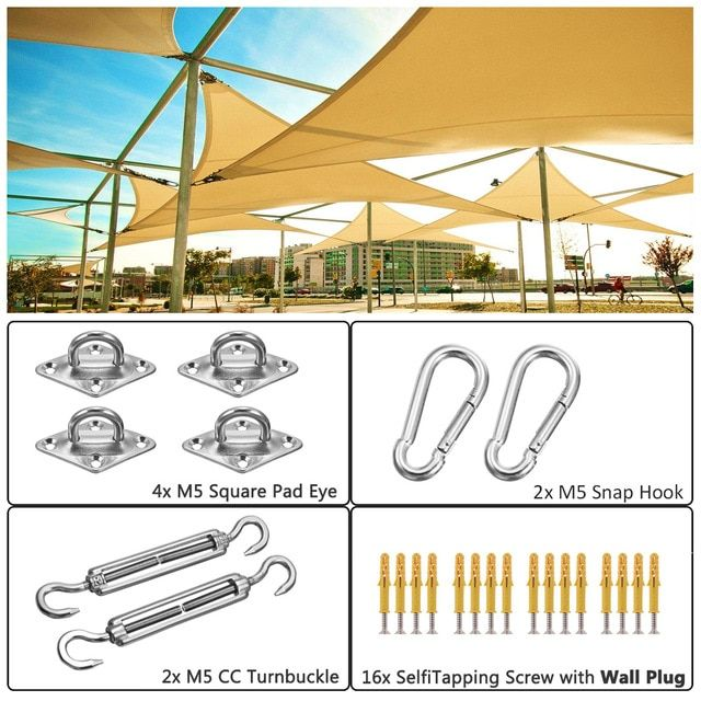 New Metal Fittings Stainless Steel Sun Sail Sun Shelter Fitting Kits Awning Special Fixed Accessories Shade Sail Accessories Review Square Snaps Sailing Shelter