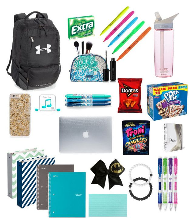 """""""Whats in my backpack❤"""" by lindsey-906 on Polyvore featuring Happy Plugs, Under Armour, Five Star, CamelBak, NYX, M.O.T.D Cosmetics, Vera Bradley, Marc Jacobs, Paper Mate and Incase"""