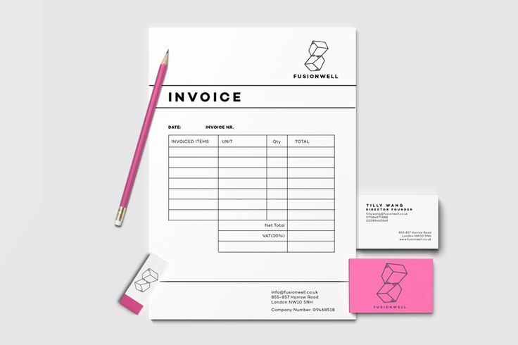 Stationery design for FUSIONWELL-London based furniture company
