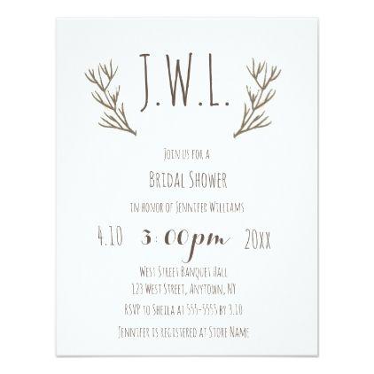 #invitations #wedding #bridalshower - #Rustic antler wreath bridal shower invitations