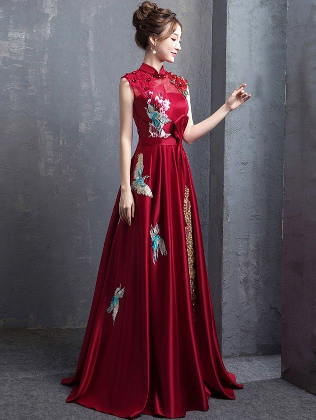 fa57c592058 Red A-Line Floor Length Qipao   Cheongsam Wedding Dress with Embroidery