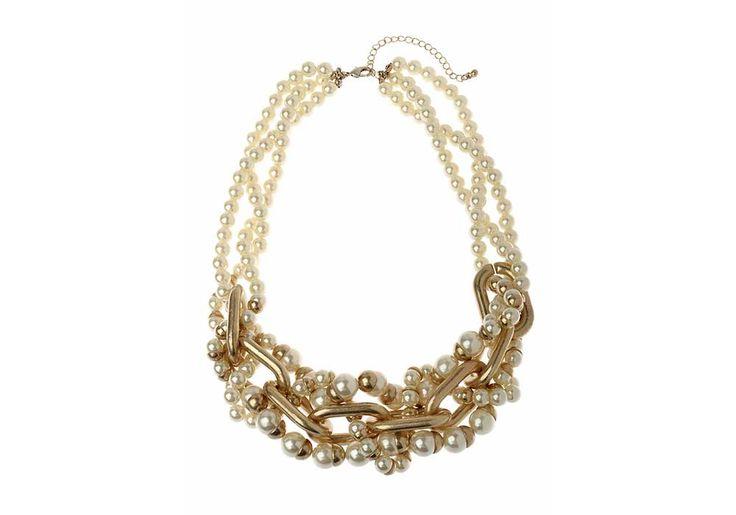 longueur: 50cm  poids: 4.5cm longueur extensible de : 8cm poids: 94g detail : perle composition : metal couleur : creme finition: dorée