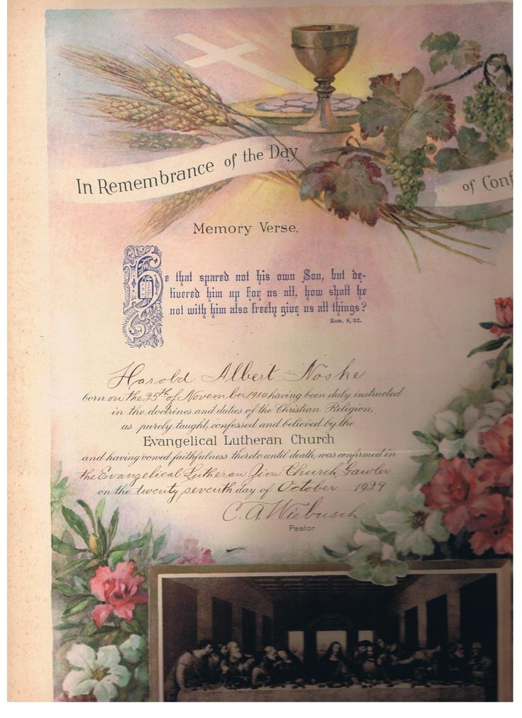 Harold Noske Christening Certificate Scroll size. Collection from Great Aunt