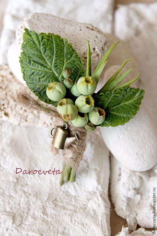 Брошь зелёной ягодой №1 Garden - болотный,ягоды и листья,цветы ручной работы