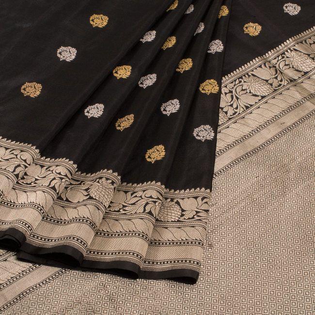 Buy online Handwoven Black Kadhwa Banarasi Katan Silk Saree With Floral Butis 10013065