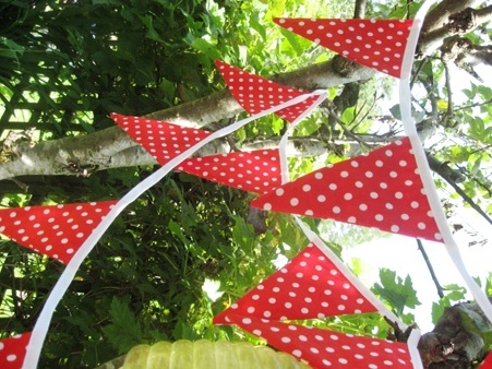 Bunting for outside decoration. Make in red and green. Maybe use chili shapes rather than the original triangle?