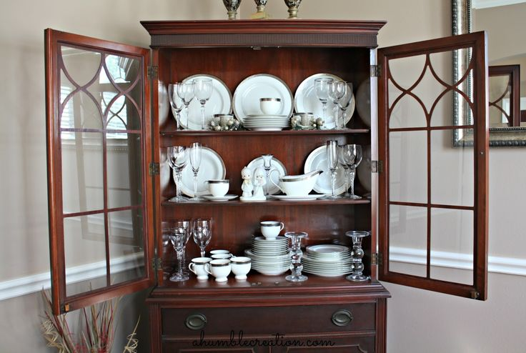 A second picture of how to arrange my dining cabinet A Humble Creation: If These Dishes Could Speak