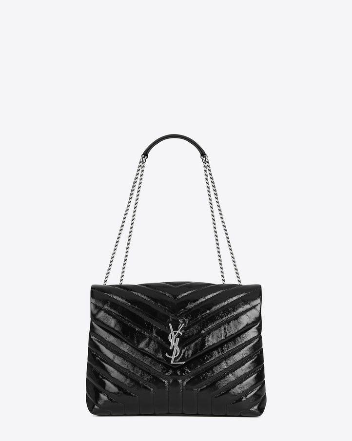 Ysl Medium Loulou Black Leather Handbags Bags