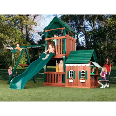 Swing n slide summer fun swing set with playhouse and for Childrens playhouse with slide and swing