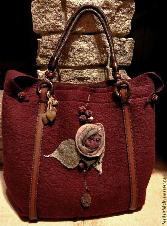 """Купить Авторская сумка """"Комфорт"""" - бордовый, однотонный, кожаные ручки, кожаные ремни, бордовая сумка"""
