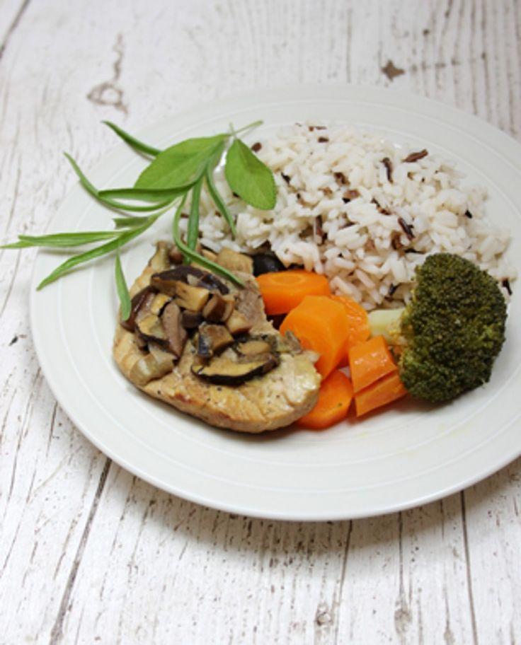 Recepty pro děti: Vepřové na houbách s rýží a zeleninou