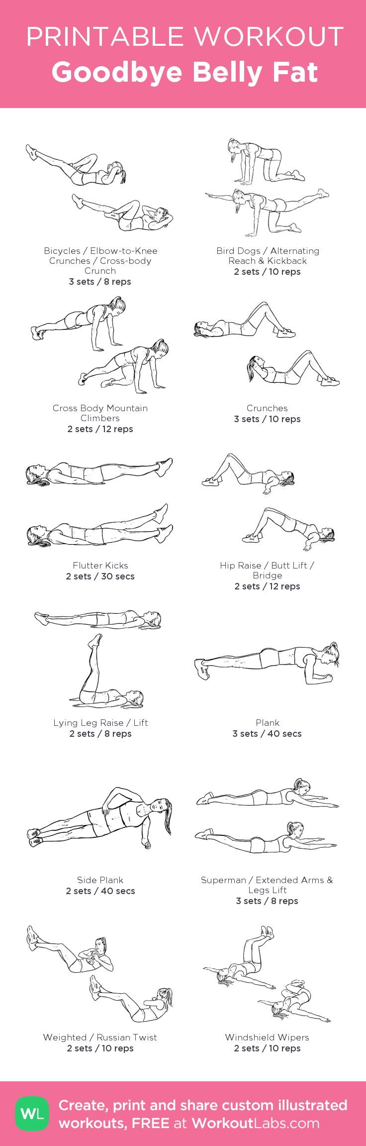 Goodbye Belly Fat: my visual workout created at WorkoutLabs.com • Click through to customize and download as a FREE PDF! #customworkout