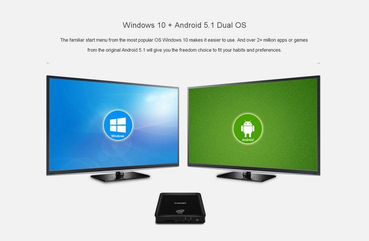 CHUWI HiBox Mini PC Quad Core Intel x5-Z8350 64bit Android 5.1 + Window 10 Dual OS 2.4G / 5G WiFi BT 4.0