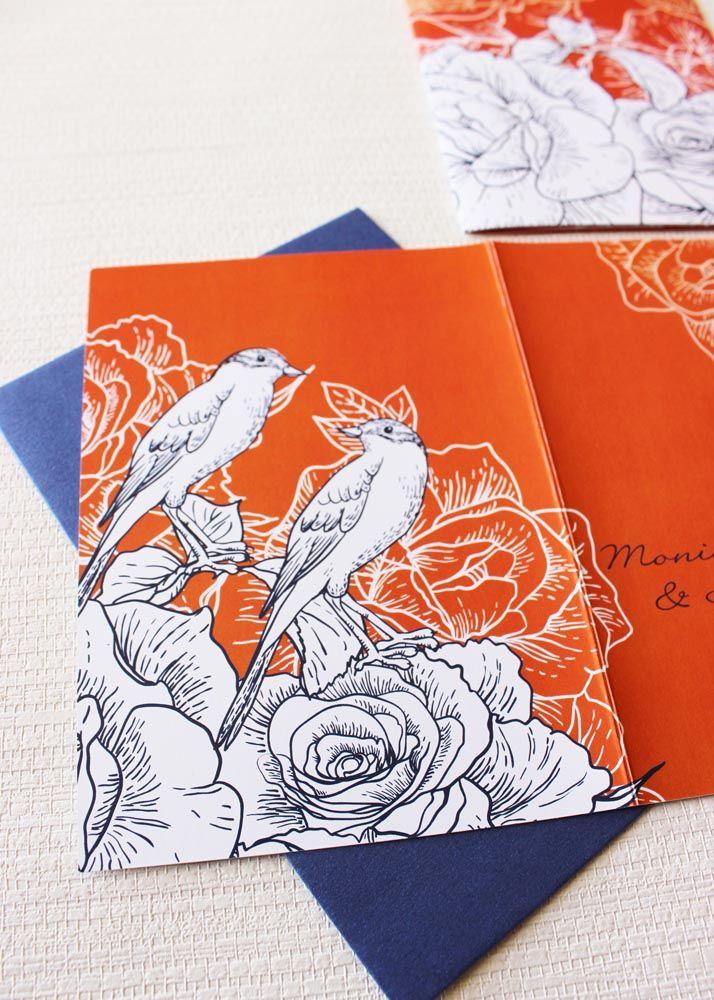 navy blue birds wedding invitation