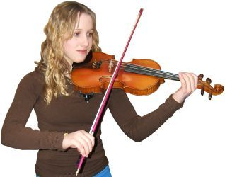 Student playing violin with a pink/purple bow