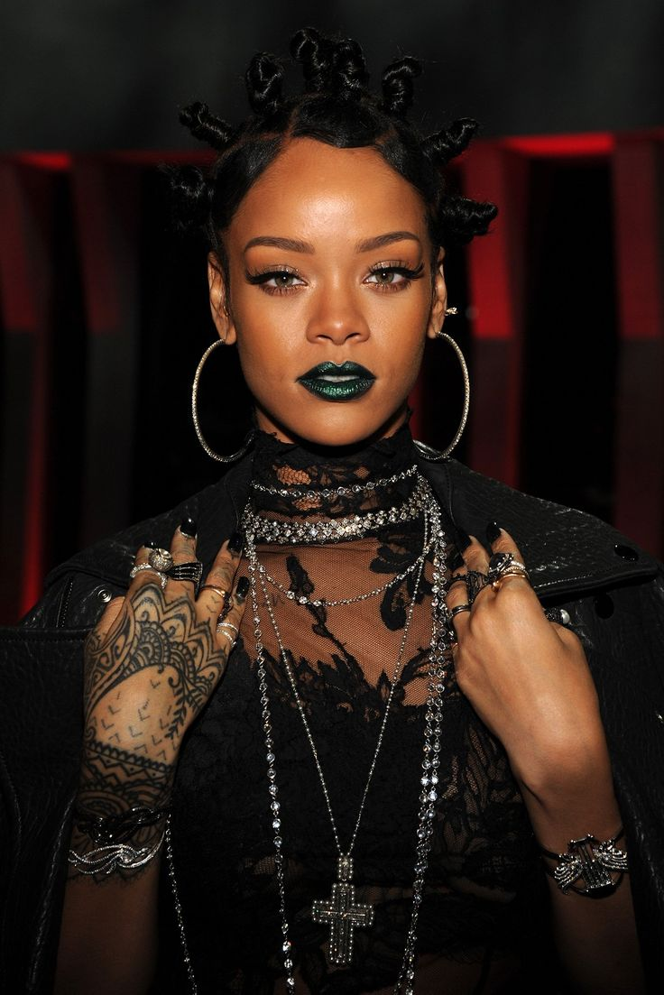 RiRi's emerald mouth made us green with envy at the iHeartRadio Music Awards in L.A. For a similar look, try: NYX Wicked Lippies in Risque, $6