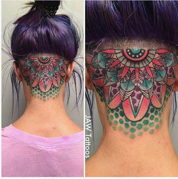 Jaw Line Tattoos: Feminine Geometric Neck Tattoo By Jessica White (JAW