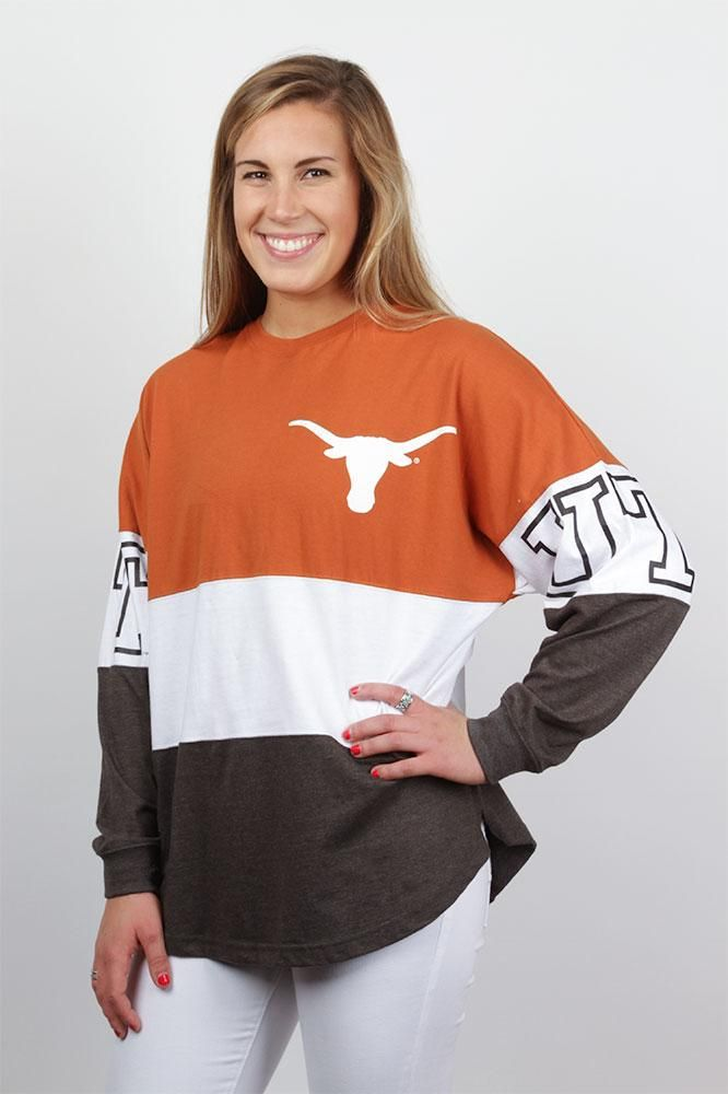 Show your Longhorn spirit at the big game or simply walking to class in the Longhorn Triple Color Block Spirit Shirt.  Shop Texas tops for women. Buy today!