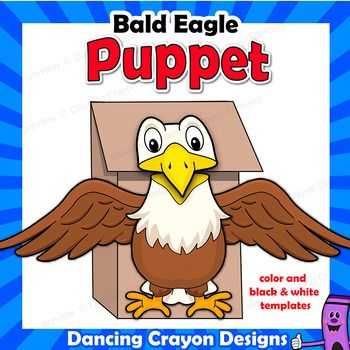American Bald Eagle Craft Activity Paper Bag Puppet Template