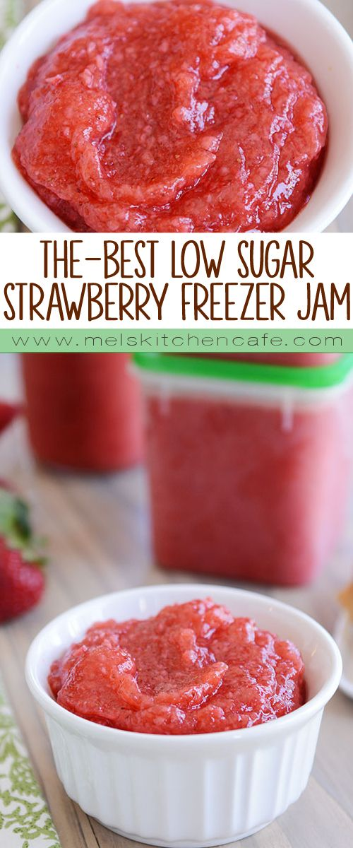This is hands down the best recipe for no-cook strawberry freezer jam ever! Bonus: you can use a lot less sugar than conventional freezer jams…or even use honey! The taste is so fresh and delicious; it's incredible!