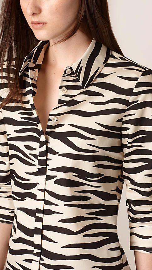 Blanco natural/negro Camisa en algodón y seda con estampado de cebra - Imagen 3