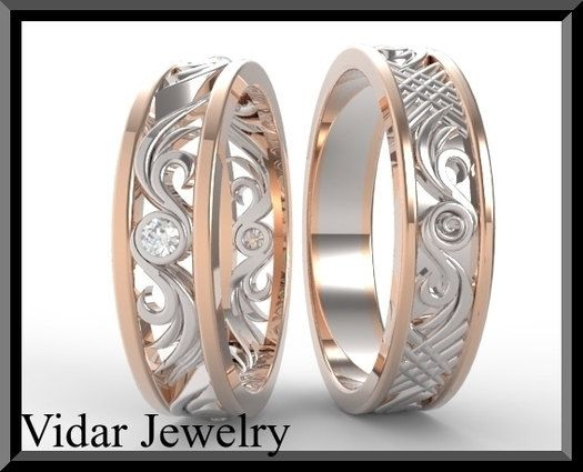 His and Hers Wedding Bands,Matching Wedding Bands Set,Diamond Wedding Bands Set.Unique,Luxury,14K Gold,Engagement band,Custom,Two Tone by Vidarjewelry on Etsy https://www.etsy.com/listing/123607901/his-and-hers-wedding-bandsmatching