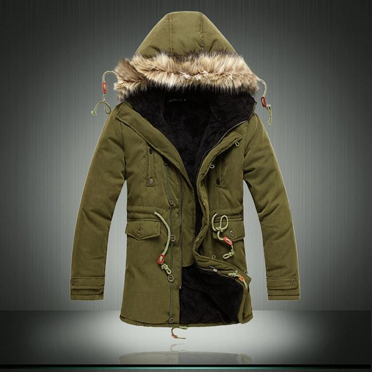 44.84$  Buy here - http://aisma.worlditems.win/all/product.php?id=32782276654 - Winter New listing Mens Parka Jacket Green Mens Large Yards Cotton Fur Collar Casual Hooded Parka Thickening Long Fleece Jackets