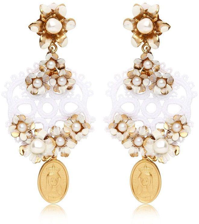 Dolce & Gabbana Macramé Lace and Pearl Earrings. Image via Net-A-Porter.