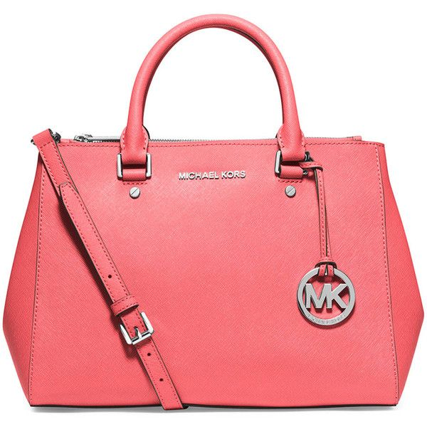 MICHAEL Michael Kors Sutton Medium Satchel Bag ($328) ❤ liked on Polyvore featuring bags, handbags, coral, man bag, michael michael kors handbags, red tote purse, tote purse and handbags totes