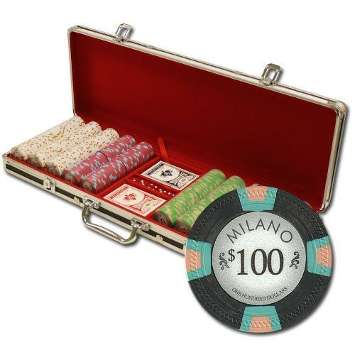500 ct milano poker chip set by claysmith gaming in black aluminum case by brybelly - Poker Chips Set
