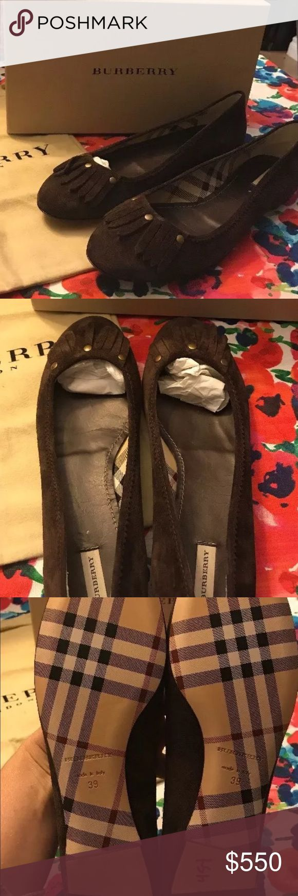 BURBERRY ASH BROWN SUEDE FLATS Women's BURBERRY ASH BROWN SUEDE FLATS SIZE 39. Comes with box and dust bag Burberry Shoes Flats & Loafers