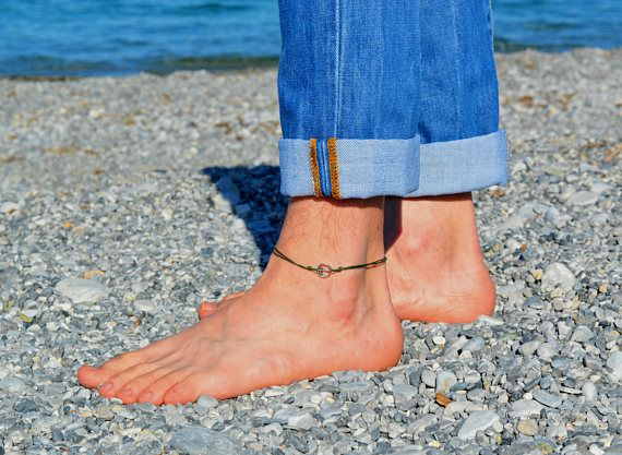 peace anklet for men, men's anklet with a silver charm, blue cord, anklet for men, gift for him, men's ankle bracelet, nautical jewelry
