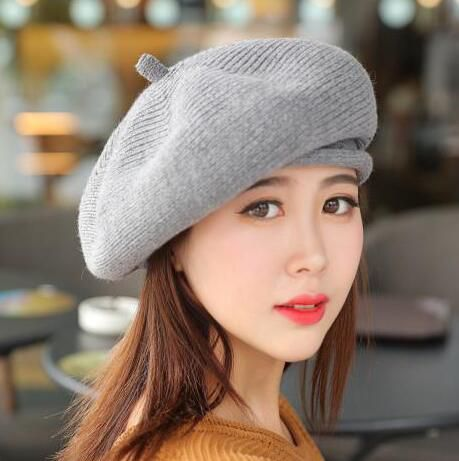 Plain gray french barrette hat for women winter knit wool berets for sale e41239250d5d