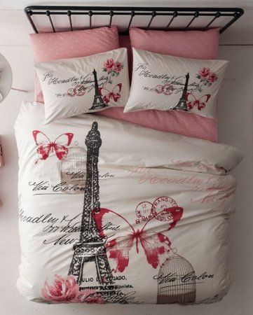 100% Cotton Paris Eiffel Tower Butterfly Pink Theme Themed Full Double Queen Size Quilt Duvet Cover Set Bedding Linens Sets