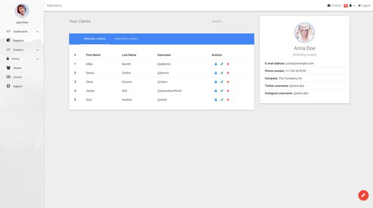 Material Design Support page - part of our Bootstrap Admin Templates Pack