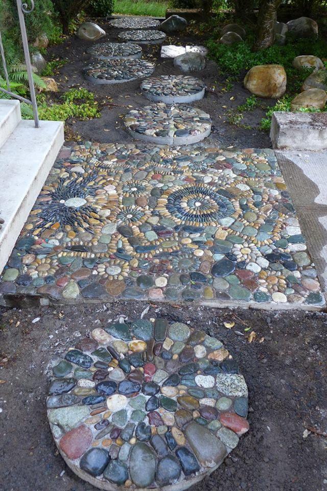 943 best pebble mosaics images on pinterest pebble for Garden pebble designs