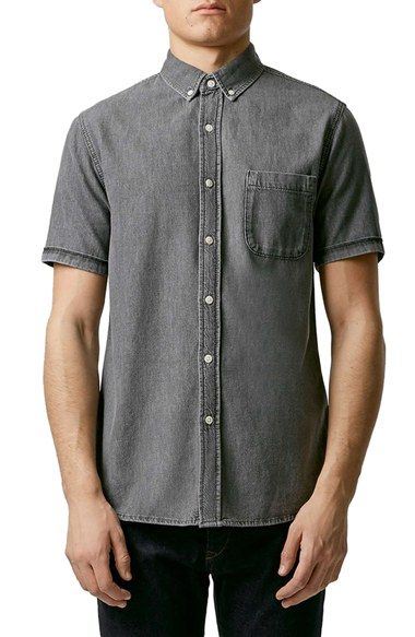 Free shipping and returns on Topman Slim Fit Short Sleeve Denim Shirt at Nordstrom.com. A slim-cut short-sleeve denim shirt in a handsome grey wash exudes vintage softness to match its casually washed appearance.