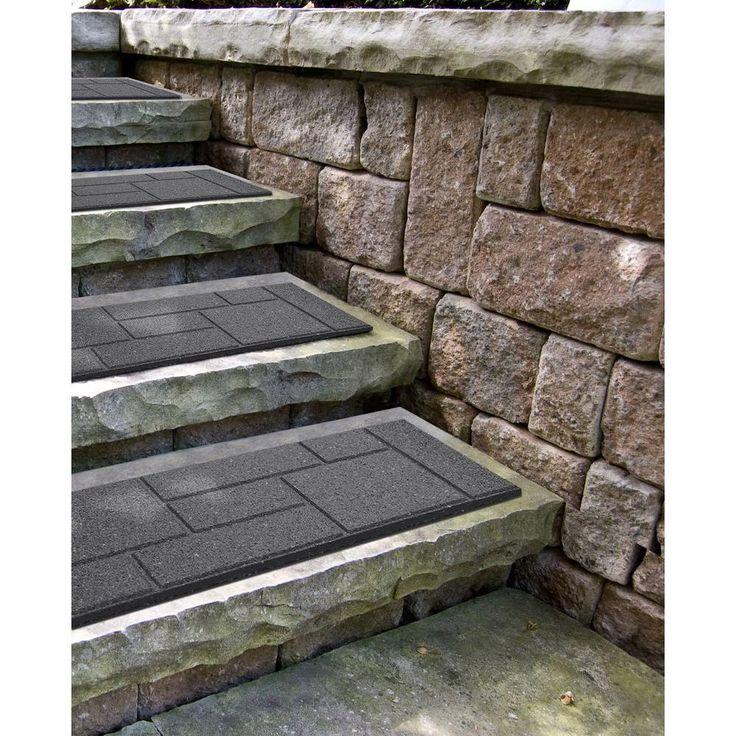 Envirotile Cobblestone 10 in. x 36 in. Gray Stair Tread (4