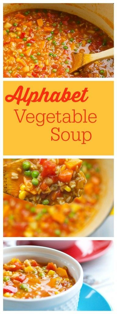 A classic soup recipe! This homemade Alphabet Vegetable Soup is way better and healthier than Campbell's!  AND you can have this ready in about 40 minutes! Use whatever vegetables and pasta shape you have on hand.  A family-friendly dinner idea.
