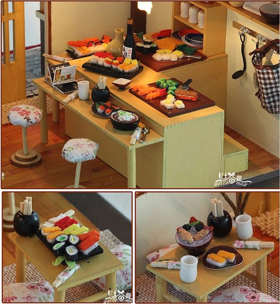 Casa de muñecas miniatura bricolaje Kit Sakura Sushi Shop con