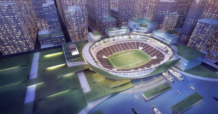 NFL teams won't play in sterile concrete bowls. Instead, they will play in multi-use spaces near the urban core, redefining our idea of what a stadium is.