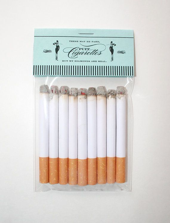 I have looked EVERYWHERE for these things! I wanted to have a fun GNO Great Gatsby themed party and wanted these for fun!! Tiffany's Theme Puff Cigarettes by JacksMaster on Etsy, $8.00 #Tiffany