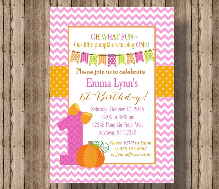 PUMPKIN FIRST BIRTHDAY Invitation for Girls / 1st Birthday Invitation for Girl Fall Pink and Orange / Cute  Pumpkin Invitation 1st Birthday by traditionsbydonna on Etsy https://www.etsy.com/listing/243863676/pumpkin-first-birthday-invitation-for