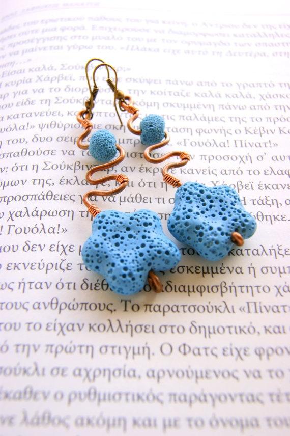 Wire earrings  lava flowers by RenatasArt on Etsy, €15.00